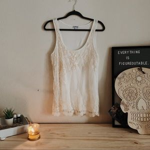 Express Cream Sequin Lace Tank